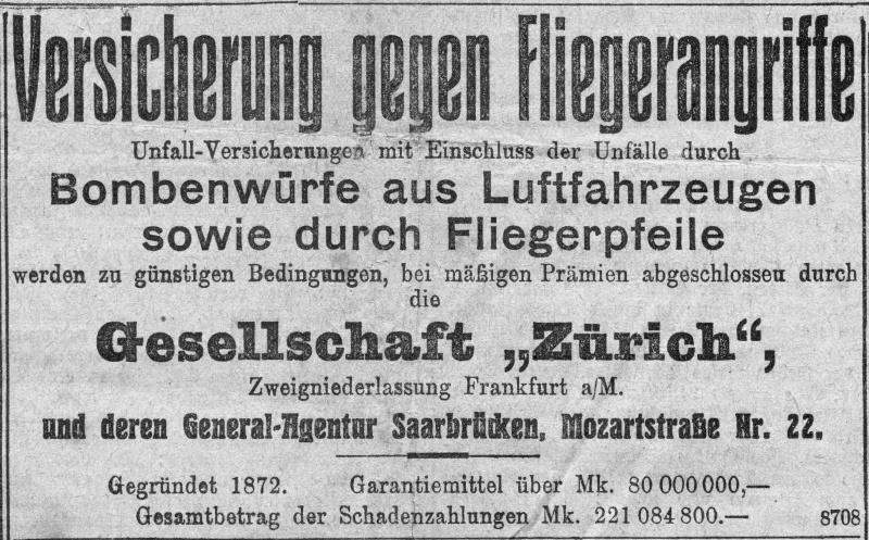 soldaten und krieg in und aus deutschland bis 1945 versicherung gegen fliegerangriffe 1915. Black Bedroom Furniture Sets. Home Design Ideas