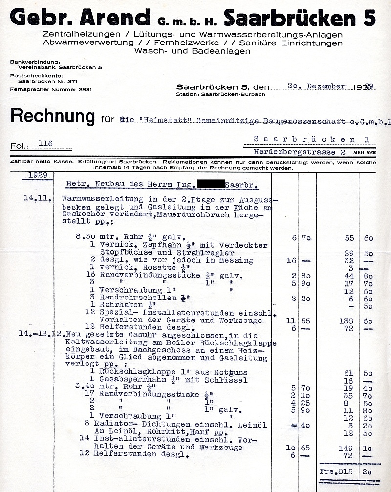 auswahl von rechnungen aus dem bausektor saarbr cken 1928 1931. Black Bedroom Furniture Sets. Home Design Ideas